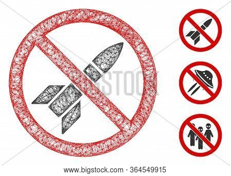 Mesh No Rockets Polygonal Web Icon Vector Illustration. Carcass Model Is Created From No Rockets Fla