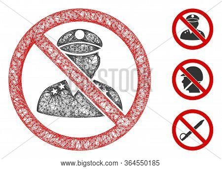 Mesh No Military Officer Polygonal Web Symbol Vector Illustration. Model Is Based On No Military Off