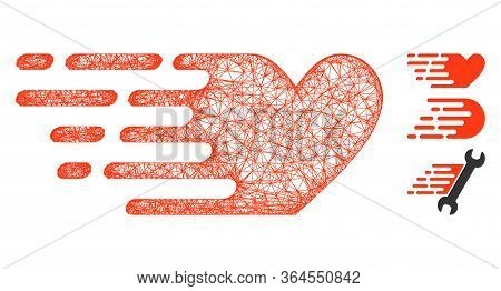 Mesh Fast Love Polygonal Web Icon Vector Illustration. Model Is Created From Fast Love Flat Icon. Tr