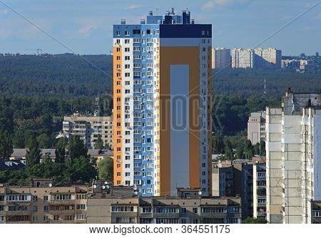 Kiev, Ukraine - June 10, 2017: Kiev (kyiv) From Above. New Modern High-rise Apartment Building Among