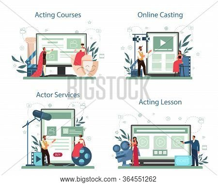 Actor And Actress Online Service Or Platform Set. Idea Of Creative