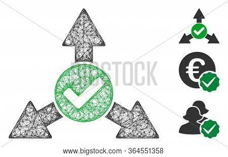 Mesh Valid Directions Polygonal Web Icon Vector Illustration. Model Is Based On Valid Directions Fla