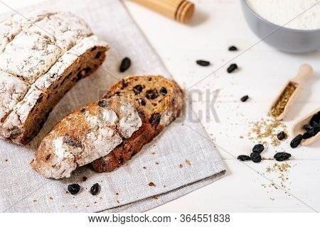 Bread Sliced Freshness Bakery Traditional Food Flat Lay Closeup Photography. Baked From Whole Grain