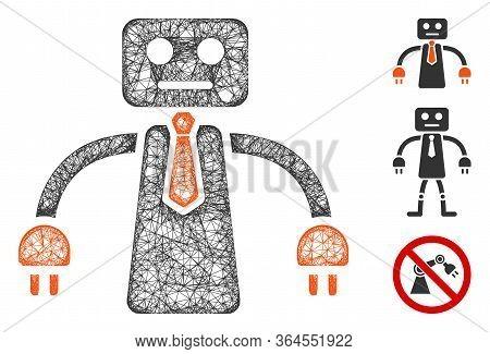 Mesh Boss Robot Polygonal Web Symbol Vector Illustration. Model Is Based On Boss Robot Flat Icon. Tr