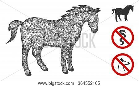 Mesh Horse Polygonal Web Symbol Vector Illustration. Model Is Created From Horse Flat Icon. Triangul