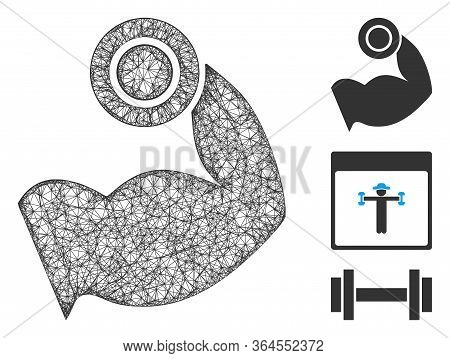Mesh Bodybuilding Muscle Polygonal Web 2d Vector Illustration. Carcass Model Is Based On Bodybuildin