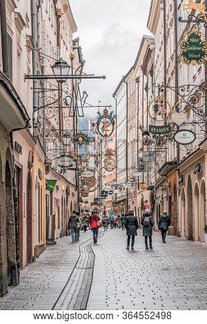 Feb 4, 2020 - Salzburg, Austria: People Wander On The Street Of