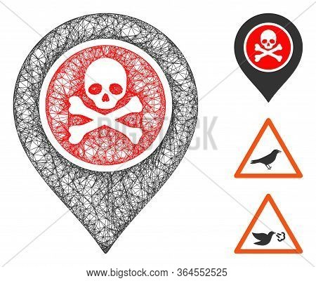 Mesh Dangerous Zone Pointer Polygonal Web Icon Vector Illustration. Carcass Model Is Created From Da