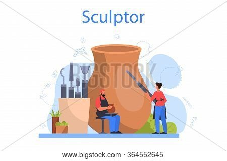 Professional Sculptor Concept. Creating Sculpture Of The Marble,