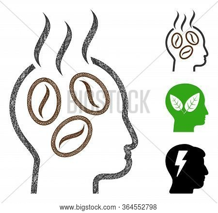 Mesh Coffee Dreams Head Polygonal Web Symbol Vector Illustration. Carcass Model Is Created From Coff