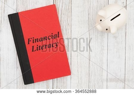 Financial Literacy Message On A Book With Piggy Bank On Weathered Whitewash Wood