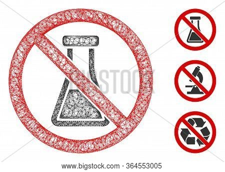 Mesh No Chemical Substance Polygonal Web Icon Vector Illustration. Carcass Model Is Based On No Chem