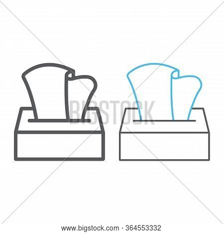 Tissue Napkin Box Line And Color Line Icon, Wash And Hygiene, Hand Tissues Sign, Vector Graphics, A