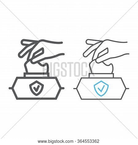 Hand Pulling Wet Tissue Line And Color Line Icon, Wash And Hygiene, Hand Tissues Sign, Vector Graphi