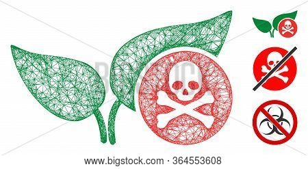 Mesh Herbicide Polygonal Web Symbol Vector Illustration. Carcass Model Is Based On Herbicide Flat Ic