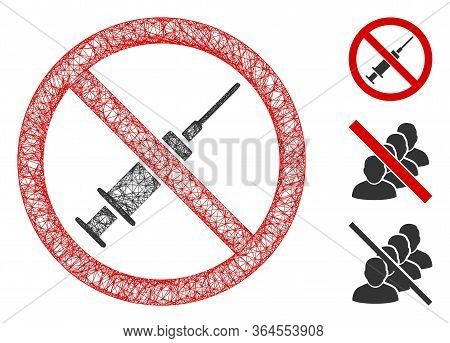 Mesh No Syringe Polygonal Web Icon Vector Illustration. Carcass Model Is Based On No Syringe Flat Ic