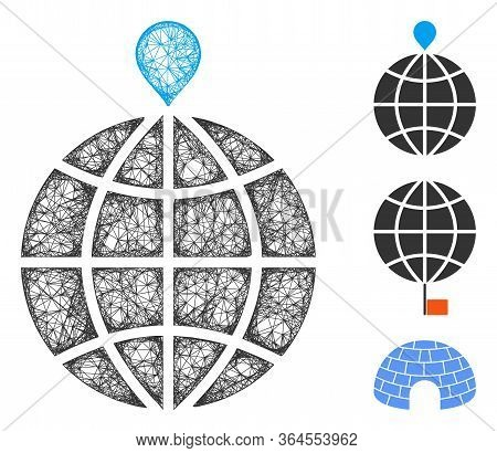 Mesh North Pole Polygonal Web 2d Vector Illustration. Model Is Based On North Pole Flat Icon. Triang