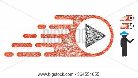 Mesh Rush Right Direction Polygonal Web 2d Vector Illustration. Carcass Model Is Based On Rush Right