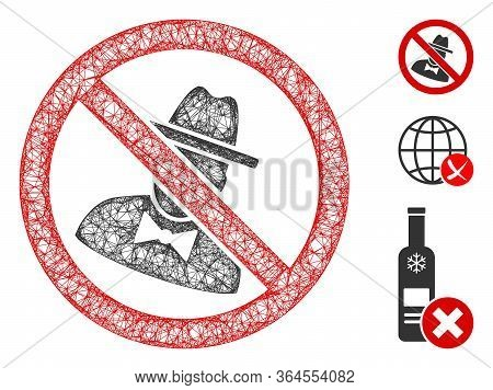 Mesh No Spies Polygonal Web Icon Vector Illustration. Model Is Created From No Spies Flat Icon. Tria