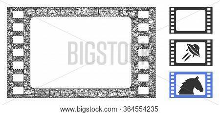 Mesh Film Frame Polygonal Web Icon Vector Illustration. Model Is Based On Film Frame Flat Icon. Tria