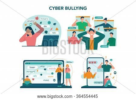 Cyberbullying Concept Set. Online Harassment With Unfriendly Mean