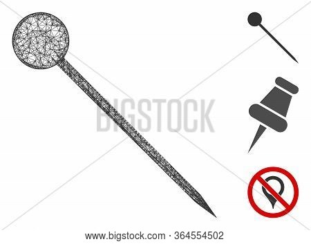Mesh Sharp Pin Polygonal Web Icon Vector Illustration. Carcass Model Is Created From Sharp Pin Flat