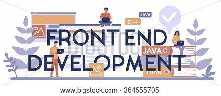 Frontend Development Typographic Header Concept. Website Interface