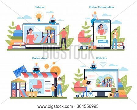 Babysitter Service Or Nanny Agency Online Service Or Platform Set.