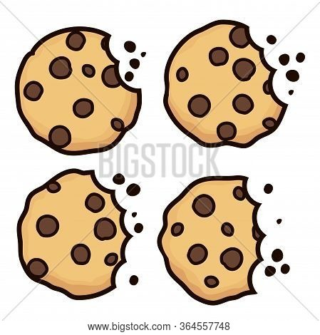 Vector Set Of Chocolate Chip Bitten Cookies Isolated On White Background. Symbols Of Homemade Biscui
