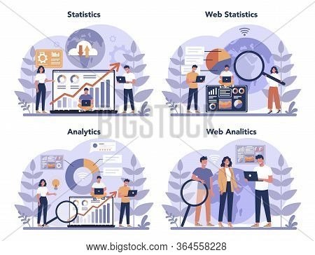 Website Analysis Concept Set. Web Page Improvement For Business