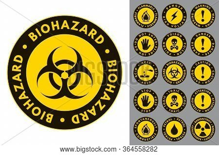 Warning And Danger. Round Icons. Set Of Road And Safety Signs. Vector Labels