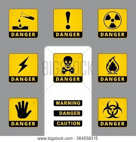 Warning And Danger. Square Icons. Set Of Road And Safety Signs. Vector Labels