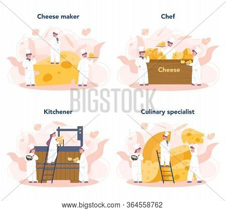 Cheese Maker Concept Set. Professional Chef Making Block Of Cheese.