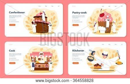 Confectioner Web Banner Or Landing Page Set. Professional