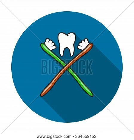 Vector Toothbrush And Healthy Tooth Icon Isolated On White Background. Dental Care Illustration With