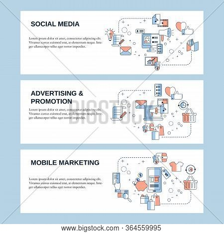 Social Media, Adverting And Mobile Marketing Concepts For Website, Landing Page, Ui, Web Banners And