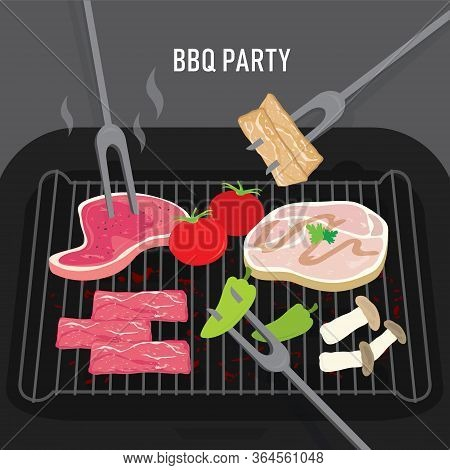 Set Of Barbeque Bbq Grill Food For Party, Beef, Pork, Meat And Vegetables. Cartoon Vector Illustrati