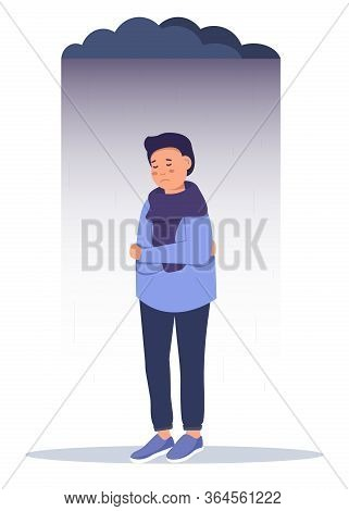 Depressed Sad Boy. Depressed Teenager. Unhappy Sad Man. Creative Vector Illustration.