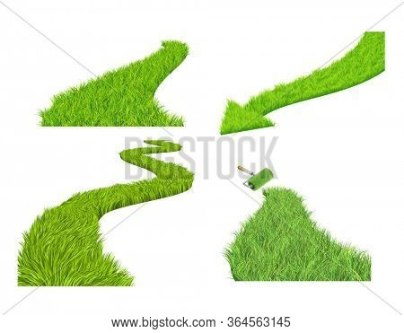Eco concept. Road with bright green grass. Set of grass pathways. Green grassy way with arrow. Isolated on white background. 3d render