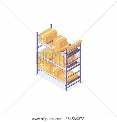 Isometric Warehouse Box Equipment Rack Pallet And Shelf. 3d Boxes Pallets Goods Racking Shelving Vec