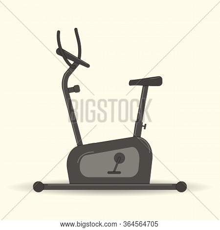 Gym Equipment: Exercise Bike For Playing Sports.velosimulator For Sporting. Vector Graphic Illustrat