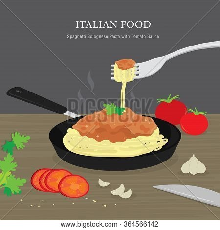 Set Of Traditional Italian Food, Spaghetti Bolognese Pasta With Tomato Sauce. Cartoon Vector Illustr