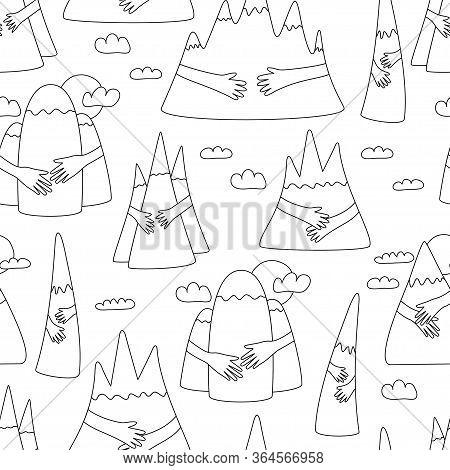Mountain Hug Seamless Pattern. Cute Cartoon Pattern When Hands Hugged Hills With Love. Vector Illust