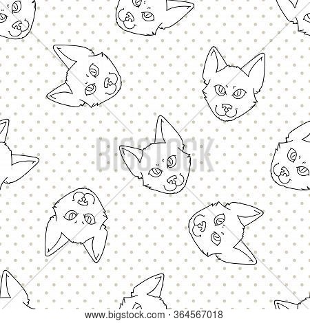 Cute Cartoon Monochrome Japanese Bobtail Cat Face Seamless Vector Pattern. Pedigree Kitty Breed Dome