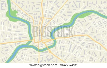 City Map With Gps. Seamless Pattern Texture With Street, Road, River, Land, Park Roadmap Of City. Ur