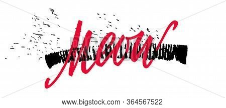 Vector Red Lettering Meow Brush Letters With Expressive Strike Print And Splashes. Sketch Drawing Ki