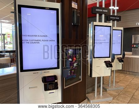 Orlando, Fl/usa-5/3/20: A Self Service Kiosk To Place A Food Order Without An Employees Help At Mcdo