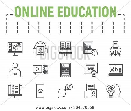 Online Education Line Icon Set, Distance Learning Symbols Collection, Vector Sketches, Logo Illustra