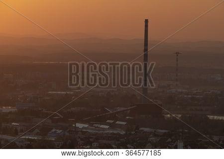 Red Sun In Sunset Evening Near Ceske Budejovice City