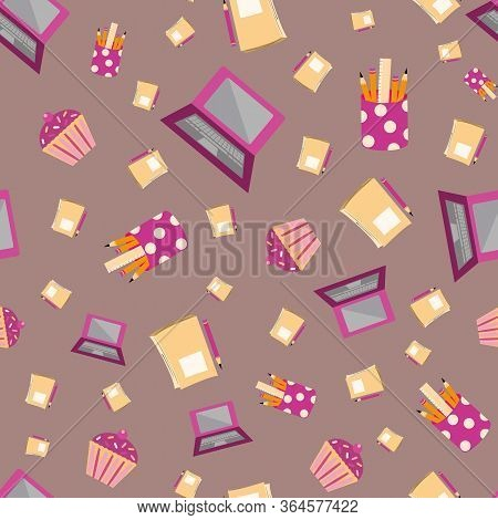 Vector Cute Cartoon Laptop Seamless Pattern Background. Pencils, Cupcakes, Notebooks On Mauve Backdr